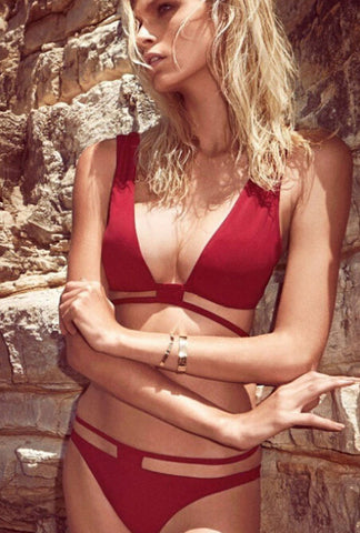 HOT RED  TWO PIECE BIKINIS