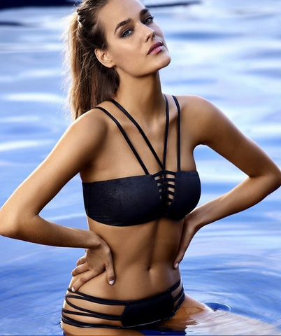 SEXY POLYLINE HIGH NECK HOLLOW OUT BIKINIS