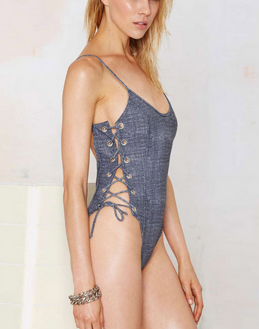 Blue denim print on both sides of lace hollow knot grey piece swimsuit