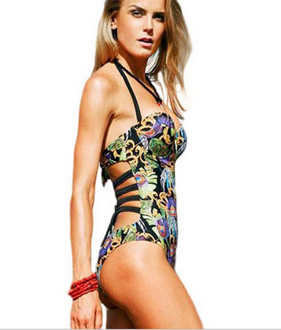 CUTE ONE PIECE GREEN PRINT BIKINIS