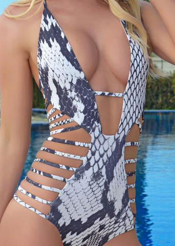 HOT PRINT SCALE INTERVAL HOLLOW OUT ONE PIECE BIKINIS