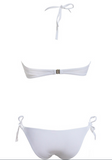 CUTE PURE COLOR WHITE HOLES BIKINI TWO PIECES