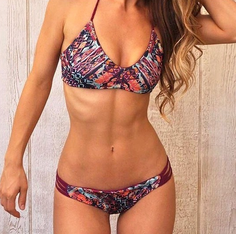 FASHION GEOMETRIC PURPLE PRINT CUTE COLORFUL TWO PIECE BIKINIS