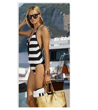 HOT BLACK WHITE STRIPE V CUTE ONE PIECE BIKINIS