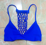 HOT BLUE NET HOLLOW OUT BIKINIS TWO PIECE SUIT