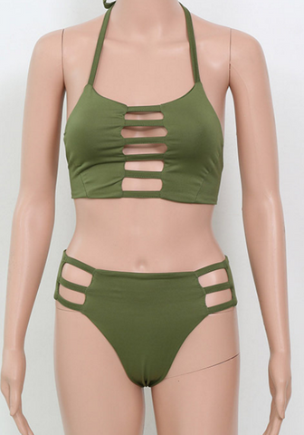 HOT ARMY GREEN HOLLOW HIGH NECK TWO PIECE BIKINIS