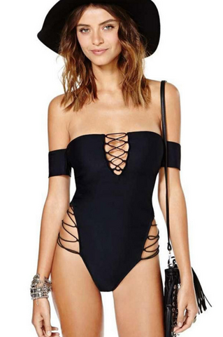 SEXY SHOULDER HOLLOW OUT ONE PIECE STRAPLESS BIKINI