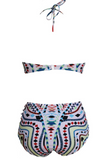 HOT HIGH WAIST TWO PIECE COLORFUL GEOMETRIC TOTEM BIKINI