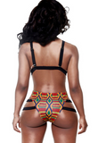 HOT PRINT BROWN HOLES SEXY TWO PIECE GEOMETRIC BIKINIS