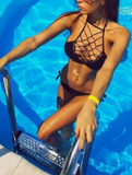 HOT HIGH NECK NET SEXY WOVEN HOT TWO PIECE BIKINIS