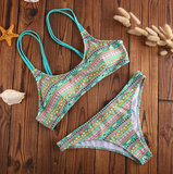 CUTE TWO PIECE COLORFUL GREEN PRINT BIKINIS