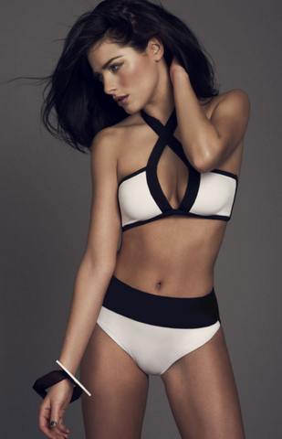 HOT BLACK WHITE HIGH NECK CROSS SEXY TWO PIECE BIKINIS
