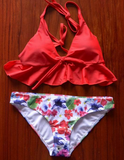 HOT LAYERED RED KNOT TWO PIECE BIKINIS