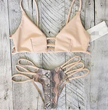 HOT CLASSY HOLLOW OUT NUDE SCALE TWO PIECE BIKINIS BATH SUIT SWIMWEAR