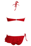 HOT STRAPLESS RED LAYERED TWO PIECE BIKINIS