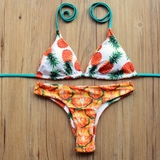 CUTE TWO SIDES WEAR ORANGE PINEAPPLE TWO PIECE BIKINIS