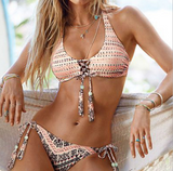 HOT COLORFUL KNOT PRINT TWO PIECE BIKINIS