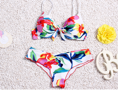 hot two piece colorful flower knot bikinis