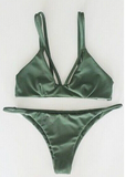 CUTE DARK GREEN SHOW BODY TWO STRAPS TWO PIECE BIKINIS