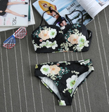 FASHION BLACK FLOWER TWO PIECE BIKINIS