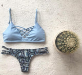 SEXY BLUE SCALE POLYLINE NET CROSS TWO PIECE BIKINI