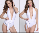 FASHION ONE PIECE DEEP V KNOT WHITE BIKINIS