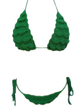 HOT GREEN WOVEN LAYERED TWO PIECE BIKINIS
