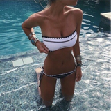 SEXY CUTE STRAPLESS SCALLOPED BLACK WHITE TWO PIECE BIKINI