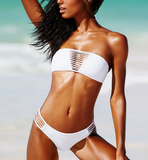 FASHION STRAPLESS HOLLOW OUT TWO PIECE BIKINIS