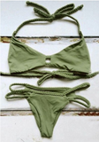 sexy green holes braid v two piece bikini