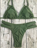 CUTE SEXY DARK GREEN AND SILVER NET TWO PIECE BIKINI