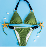FASHION DARK GREEN METALLIC TWO PIECE BIKINIS