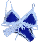 FASHION WOVEN CONTRAST BLUE WHITE TWO PIECE BIKINIS