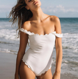 FASHION WHITE BLACK SCALLOPED SHOULDER ONE PIECE BIKINIS
