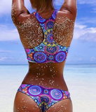 Cute two piece print bellyband colorful bikinis