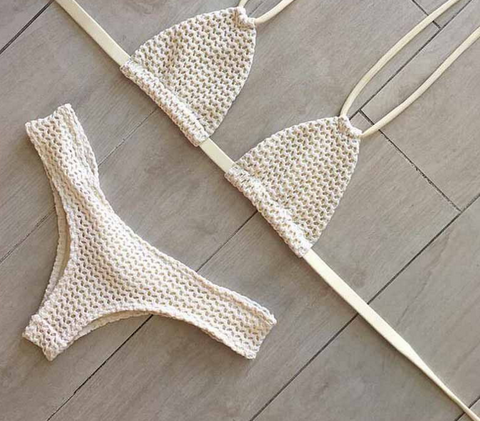 FASHION PURE COLOR TWO STRAPS KNIT TWO PIECE BIKINIS White swimsuit sexy mesh gauze