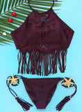 SEXY CUTE TASSEL HOLES WINE RED TWO PIECE BIKINI BATH SUIT