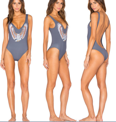 HOT GREY PRINT fly ONE PIECE BACKLESS BIKINI