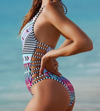 HOT COLORFUL GEOMETRIC ONE PIECE BIKINIS