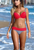 FASHION CUTE TWO PIECE SHOW BODY PLEATED HIGH WAIST BIKINIS