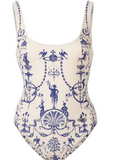 HOT TOTEM PRINT WHITE BLUE ONE PIECE BIKINIS
