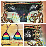 FASHION RAINBOW WOVEN TWO PIECE BIKINIS