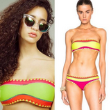 FASHION CONTRAST HANDMADE TWO PIECE BIKINIS STRAPLESS SCALLOPED BIKINIS