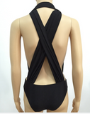Sexy black bandage magic tape wrapped chest swimsuit