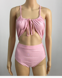 SEXY PINK KNOT HIGH WAIST ONE PIECE HOT BIKINIS SWIMWEAR