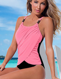 HOT CONTRAST TAN BLACK ONE PIECE BIKINIS SWIMWEAR