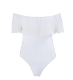 HOT ONE PIECE OFF SHOULDER FALBALA LACE WHITE BIKINIS SWIMWEAR TOP BATH SUIT