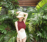 2016 one piece swimsuit hot spring resort beach halter swimsuit woman was thin mix and match colors