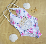 2016 new swimsuit crochet flower pink one piece print swimsuit