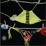 2016 new swimsuit sexy yellow chest hollow bikini
